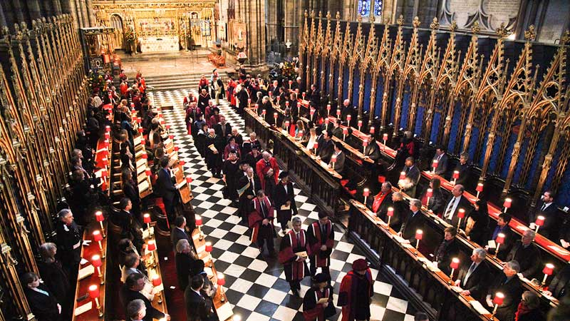 Academic staff processing at 175 anniversary service at Westminster Abbey