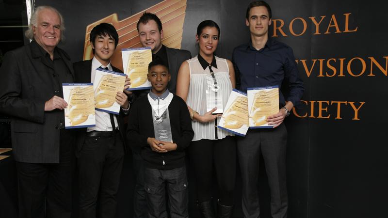 Mike Tibbets, Yechan Seo, Daniel Jamieson, Saba Kia, Bob Platt-Higgins, Kai Francis-Lewis, Student RTS Awards winners