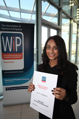 Riah Patel with her WIP award