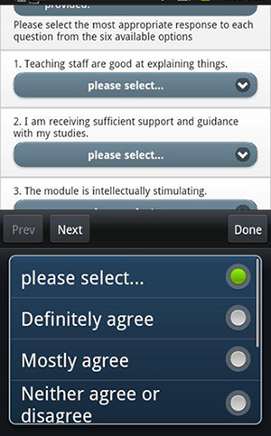 Screenshot of mobile interface for evaluation