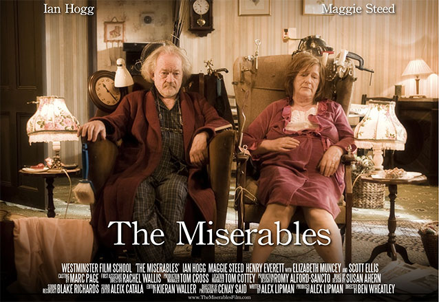 The Miserables film poster depicting a middle aged man and woman sitting in a living room