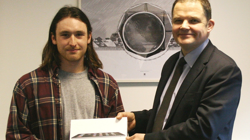 Architecture and the Built Environment winner: Sebastian Mussi , UG Construction Studies - Prize presented by David Dernie, Dean of Faculty.