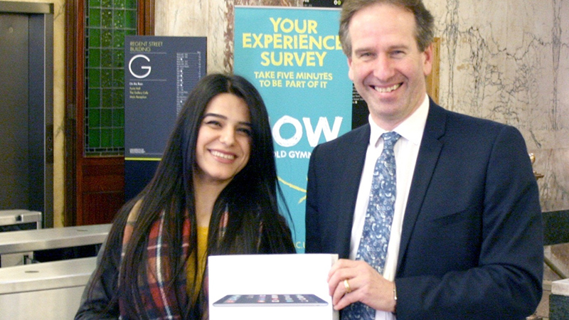 Social Sciences and Humanities winner: Yusra Khalid, UG Social Sciences – Prize presented by Roland Dannreuther, Dean of Faculty.