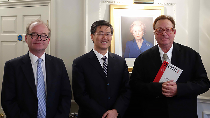 Zhu Tiezhi, Lord Saatchi and Tim Knox at the CPS.