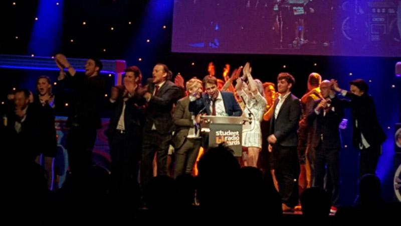 Smoke-Radio-team-accepting-trophy-at-2015-Student-Radio-Awards