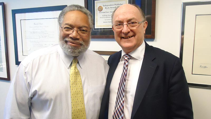 Vice Chancellor Professor Geoffrey Petts meets Lonnie Bunch at the Smithsonian's National Museum of African American History and Culture in Washington DC