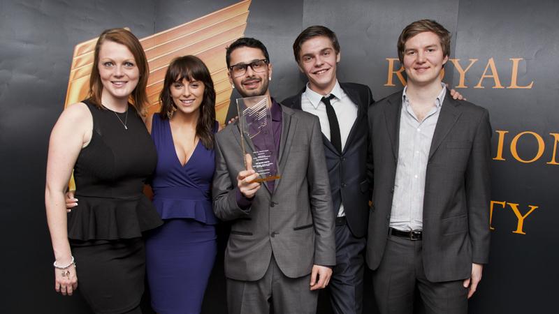 Danielle Parish, Brittany Pearce, Ross Bolidai, Drew Morkus, Michael Fitzpatrick, Student RTS Awards winners