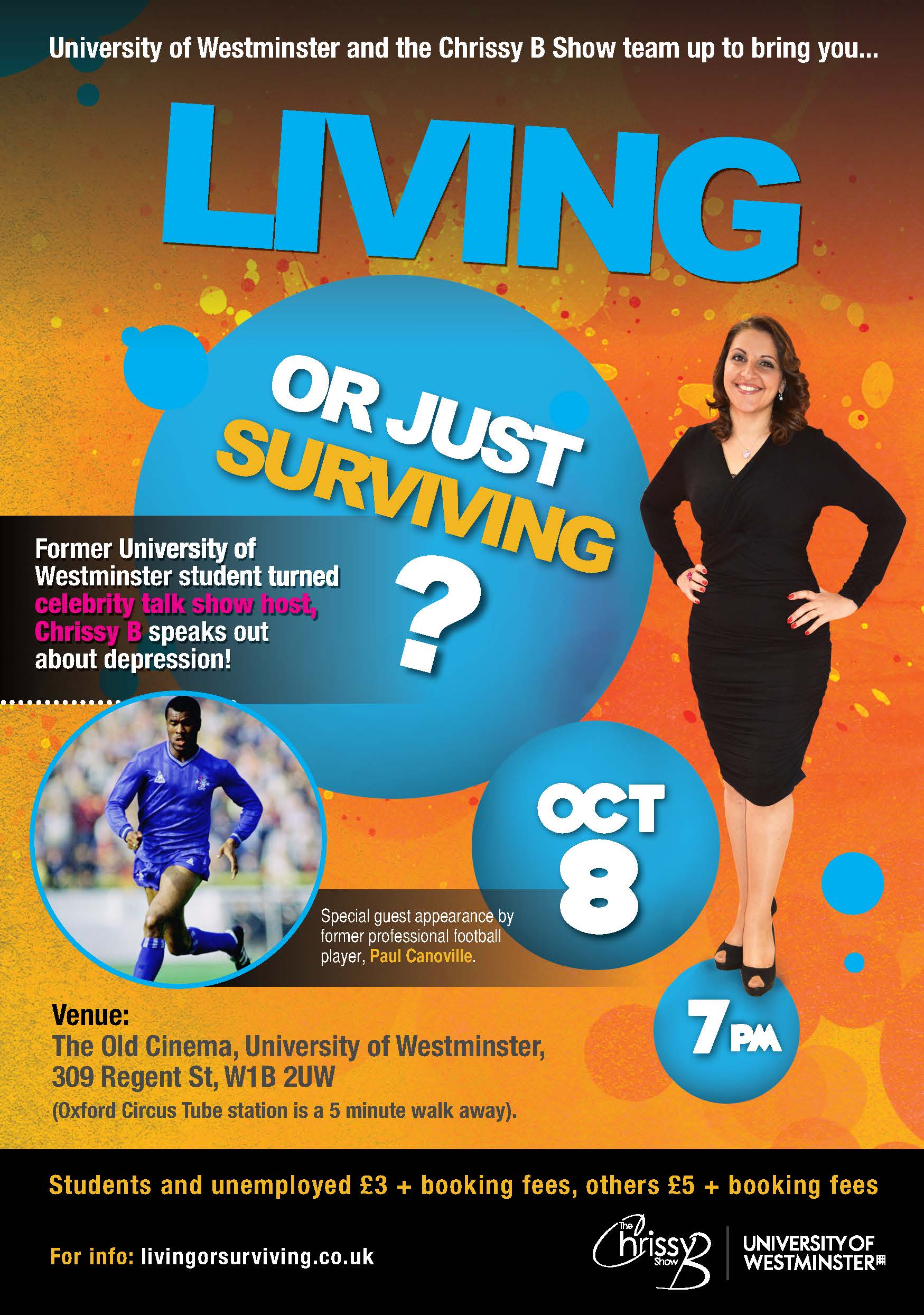 Flyer for Living or just surviving? event