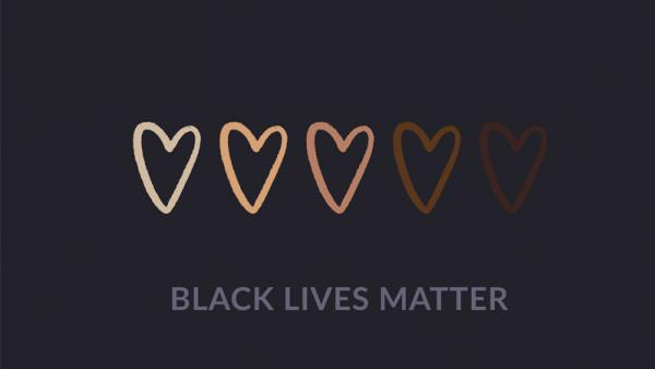 Black lives matter poster with love hearts of all skin colours