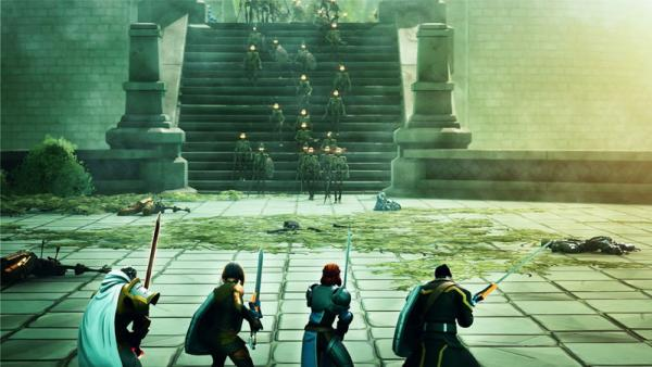Gaming image of four characters in line with swords and the enemies walking down the stairs