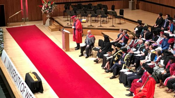 Stage at University of Westminster graduation ceremony