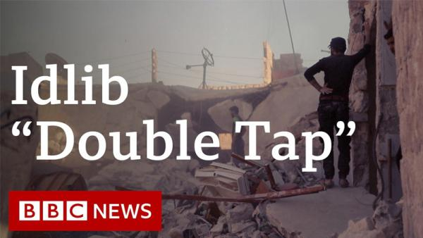 Idlib  'double tap' investigation poster with image of bombed Syria and text of the title and BBC News logo