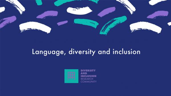 Language, diversity and inclusion poster with dark blue background and a pattern at the top