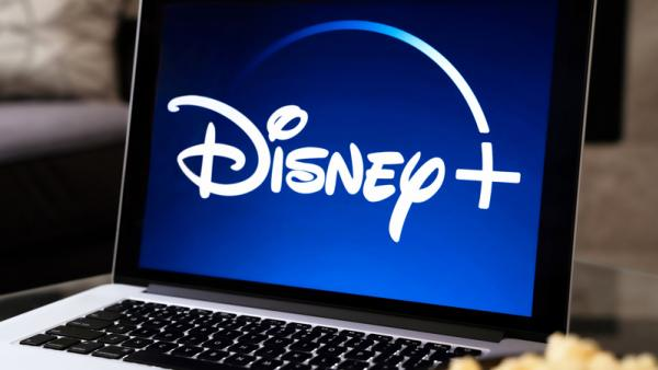 Laptop with Disney+ logo on screen