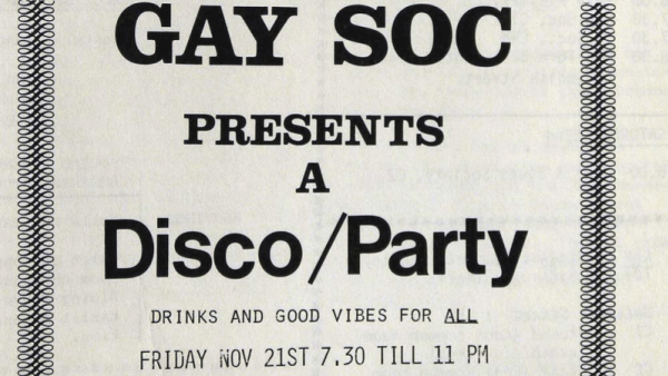 Image of an archived invitation to an LGBTQ+ event