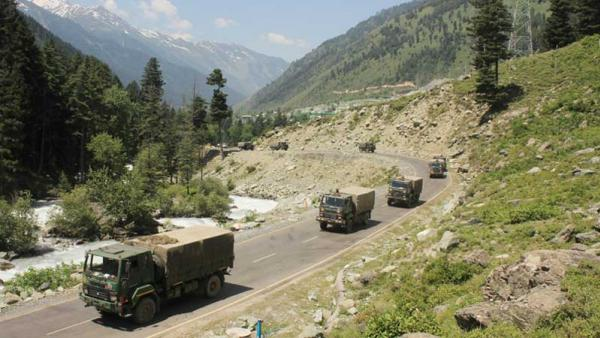 Military convoy travelling in India