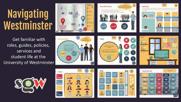 Poster of Navigating Westminster game showing screenshots of different parts of the game