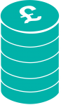 coins icon in turquoise