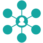 Connected and networking individual icon