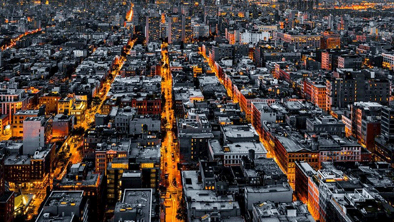 Photo from above of a city at night