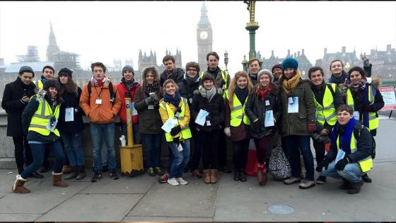 2nd and 3rd year students working as location marshalls in Central London for 'Top Gear'