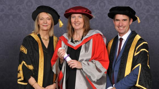 Amanda Clack with the VC and the Chancellor