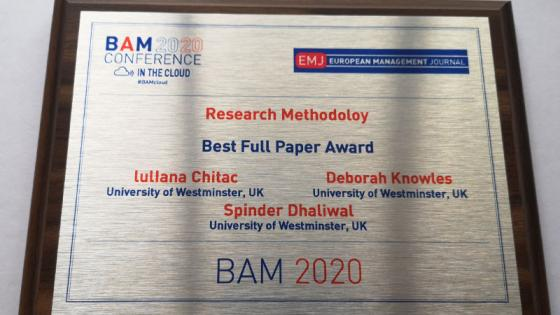 BAM 2020 Conference plaque for winner luliana Chitac
