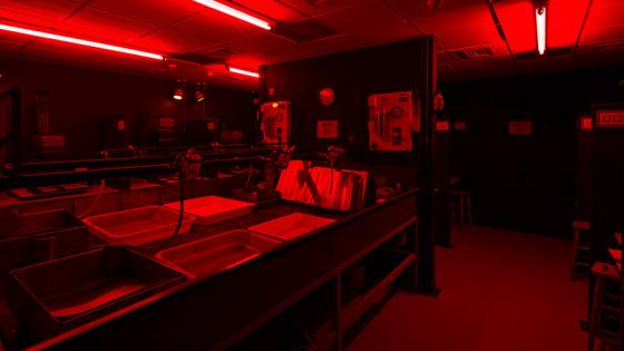 Darkrooms with red light on