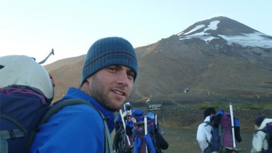 Doug Specht in front of a mountain in Chile