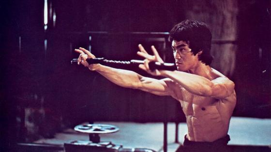 This is a scene of Bruce Lee training