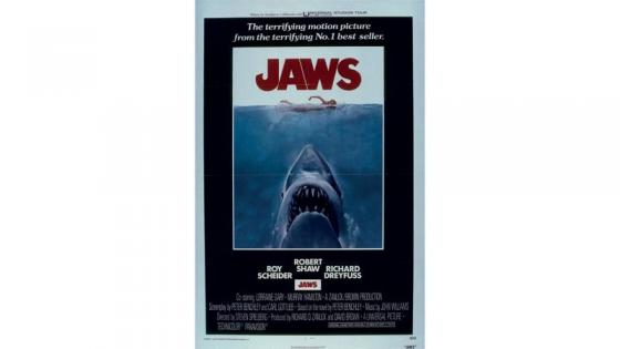 This is a poster from the film JAWS whew we can see a shark swimming toward us with his mouth wide  open