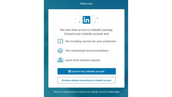 LinkedIn Learning login screen
