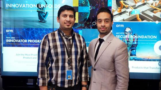 Alumnus Ritish Raghavan with MA Interactive Media Practice Course Leader Savraj Matharu