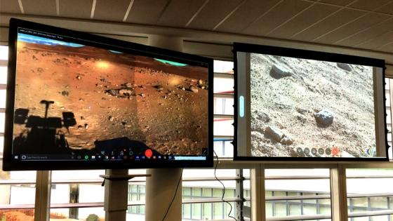 Digital screens with images of Mars
