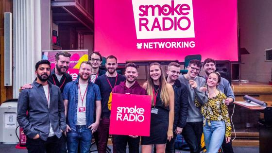 Students at a Smoke Radio networking event