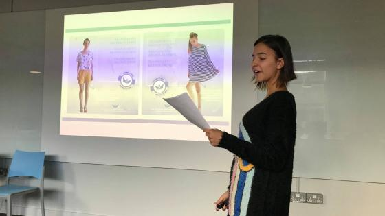 PR and Advertising student giving a presentation