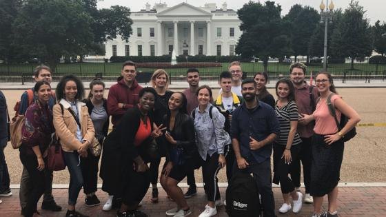 Student group photo at White House