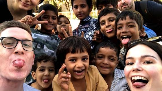 Selfies of students and young children in Mumbai