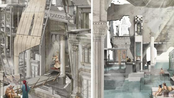 Two images of Neda's architectural drawing
