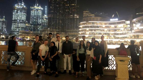 Students on a Westminster Working Cultures trip to Dubai at night