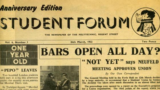 Student Forum newspaper from the Archive Services