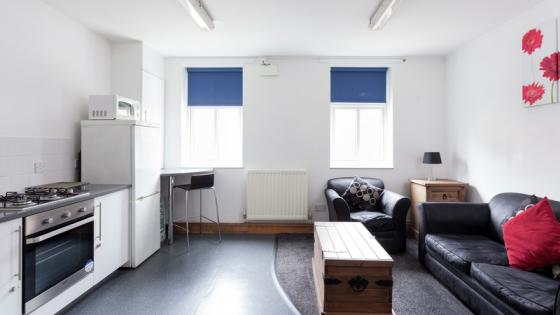 Kitchen and living room in Alexander Fleming Hall one-bedroom flat