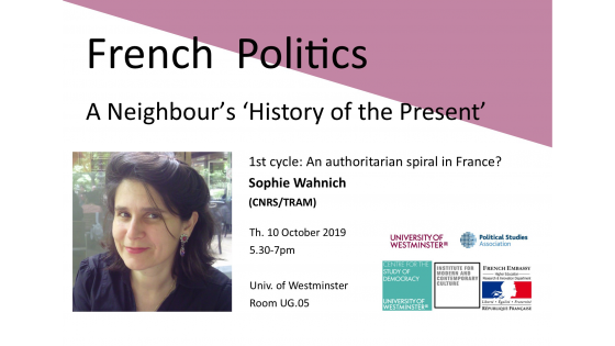 "Seminar series ""French Politics: A Neighbour's 'History of the Present'"" invites Sophie Wahnich"