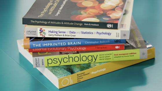 A stack of psychology books