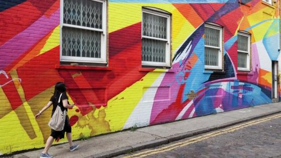 Brightly coloured wall in London