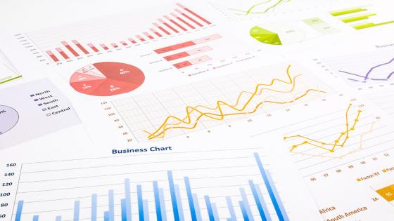 Business finance report with graphs
