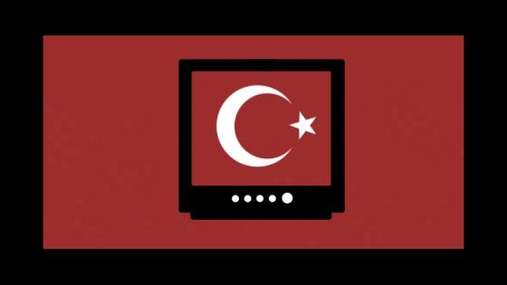 Graphic of the Turkish flag on a television screen