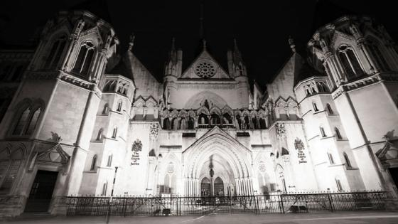 Black and white picture of the Royal Court of Justice