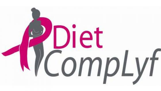 A dark grey woman figure is encircled by a pink ribbon. Next to it, the name of the company is written. It represents the diet complyf logo.