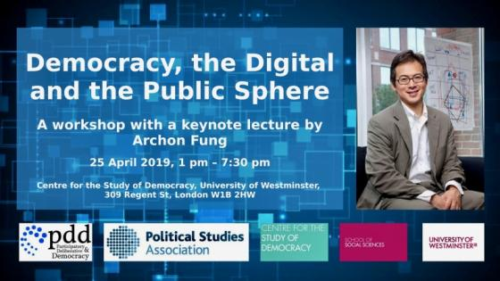 Democracy, the Digital and the Public Sphere with Archon Fung event poster